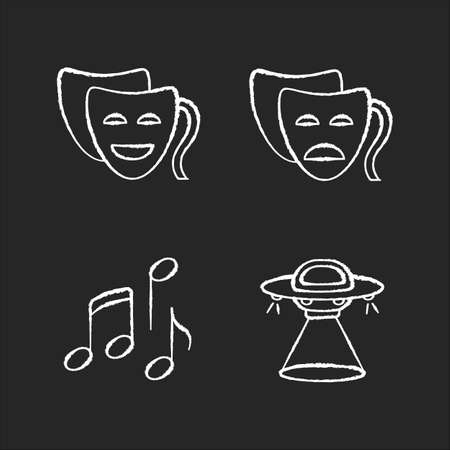 Traditional movie genres chalk white icons set on black background. Funny comedy, serious drama, musical and science fiction. Common film categories. Isolated vector chalkboard illustrations Illustration