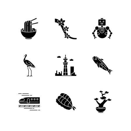 Japan black glyph icons set on white space. Ramen dish, asian food. Sakura tree. Crane bird. Tokyo skytree. City tower. Koi fish. Japanese attributes. Silhouette symbols. Vector isolated illustration Stock Illustratie