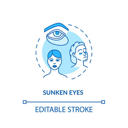 Sunken eyes turquoise concept icon. Lack of sleep sign. Dark circles from sleeplessness. Rotavirus symptom idea thin line illustration. Vector isolated outline RGB color drawing. Editable stroke