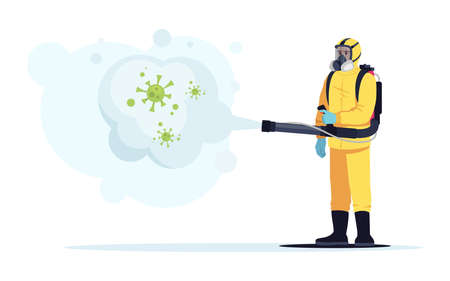 Biohazard semi flat RGB color vector illustration. Disinfection from virus outbreak. Contamination area sanitazation. Medical worker in protective suit isolated cartoon character on white background