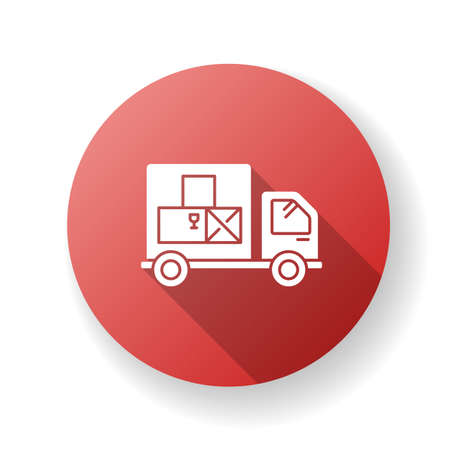 Goods receipt red flat design long shadow glyph icon. Logistics, distribution, merchandise delivery service. Cargo transportation, products supply. Silhouette RGB color illustration Illustration