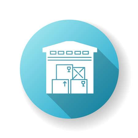 Warehousing blue flat design long shadow glyph icon. Merchandise storage, storehouse building, stockroom exterior. Industrial premises, factory floor. Silhouette RGB color illustration