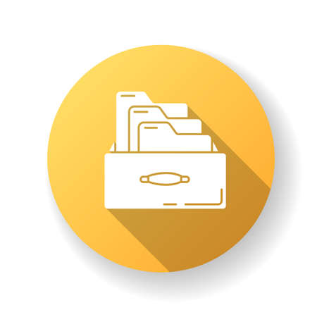 Bookkeeping card system yellow flat design long shadow glyph icon. Paper documents systematization, data folders. Paperwork, accounting documentation archive. Silhouette RGB color illustration Vettoriali
