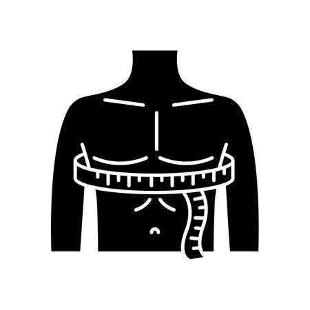 Chest circumference black glyph icon. Male upper body measurements, tailoring parameters silhouette symbol on white space. Man chest width determination for bespoke suit. Vector isolated illustration