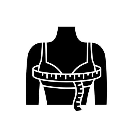 Bust circumference black glyph icon. Female upper body measurements, tailoring parameters silhouette symbol on white space. Bust width specification for bespoke clothing. Vector isolated illustration Vettoriali