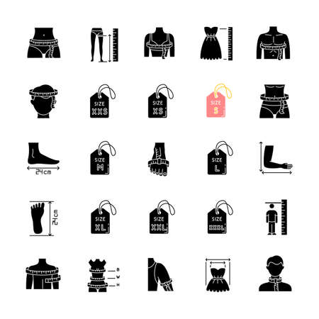 Clothing sizes black glyph icons set on white space. Human body measurements silhouette symbols. Female and male dimensions and proportions parameters for apparel. Vector isolated illustration