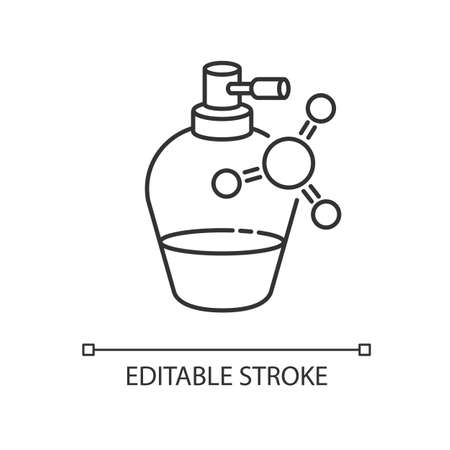 Liquid keratin in bottle pixel perfect linear icon. Chemical formula with vitamin for haircare. Thin line customizable illustration. Contour symbol. Vector isolated outline drawing. Editable stroke