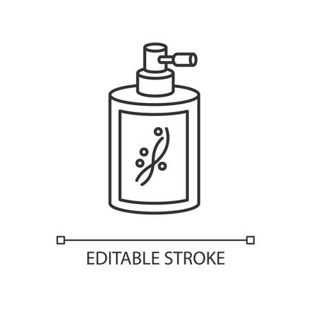 Liquid silicon in bottle pixel perfect linear icon. Conditioner in jar container with sprayer. Thin line customizable illustration. Contour symbol. Vector isolated outline drawing. Editable stroke
