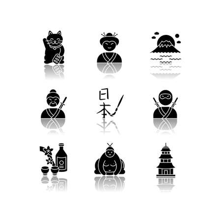 Japan drop shadow black glyph icons set. Maneki neko. Geisha woman. Mount Fuji. Samurai and ninja. Asian calligraphy. Japanese attributes. Isolated vector illustrations on white space