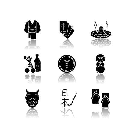 Japan drop shadow black glyph icons set. Yukata, kimono. Mahjong game. Hot springs. Sake, rice wine. Yen coin. Traditional japanese attributes. Isolated vector illustrations on white space Vectores