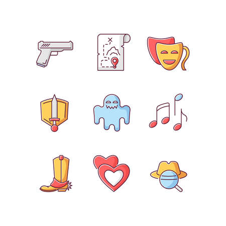 Different movie styles and genres RGB color icons set. Popular film and TV show types. Media entertainment, filmmaking industry. Isolated vector illustrations Illustration