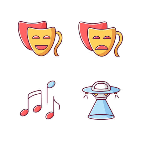 Traditional movie genres RGB color icons set. Funny comedy, serious drama, musical and science fiction. Common film categories. Isolated vector illustrations