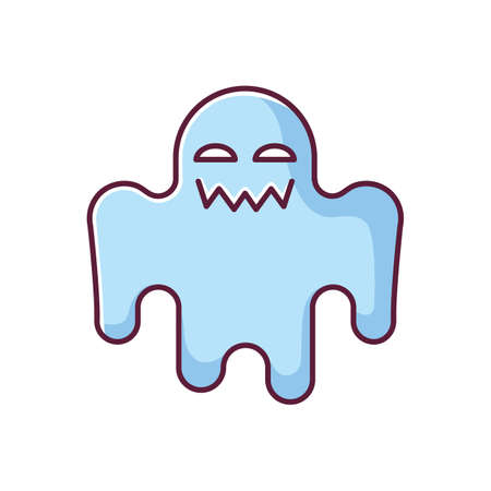 Horror movie blue RGB color icon. Scary film genre, creepy ghost story. Popular cinema category with paranormal monsters. Spooky spectre isolated vector illustration Ilustración de vector