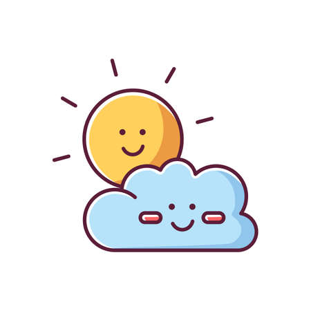 Children cartoons RGB color icon. Childish toons, animated movies and TV series. Kid friendly, positive genre. Smiling sun and cloud isolated vector illustration