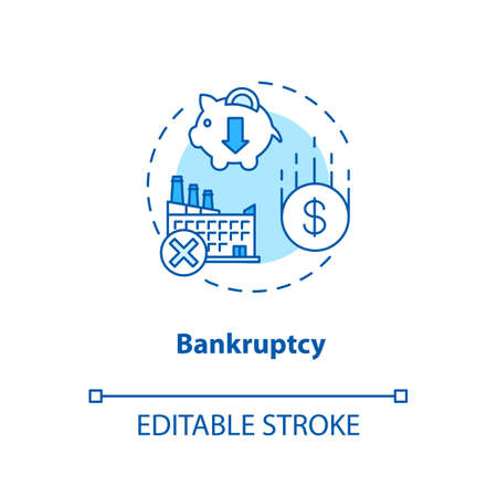 Bankruptcy concept icon. Business collapse, corporate crisis idea thin line illustration. Legal entity, company debt repayment inability. Vector isolated outline RGB color drawing. Editable stroke