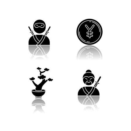 Japan drop shadow black glyph icons set. Ninja warrior. Yen coin. Bonsai tree in pot. Samurai, asian martial arts. Traditional japanese symbols. Isolated vector illustrations on white space