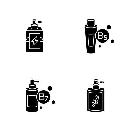 Hair oils black glyph icons set on white space. Exotic baobab fruit extract. Macadamia nuts for haircare. Kalahari melon cosmetic product. Silhouette symbols. Vector isolated illustration