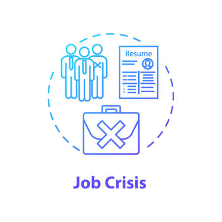Job crisis concept icon. High unemployment rate, massive vacancy shortage idea thin line illustration. Labor issues, social instability. Vector isolated outline RGB color drawing