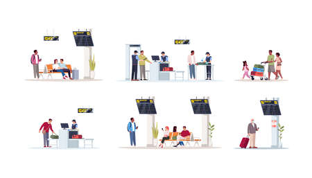 Airport terminal flat vector illustrations set. Waiting lounge area with monitor and displays. Luggage check on conveyor belt. Bags on cart. Airplane passengers isolated cartoon characters kit