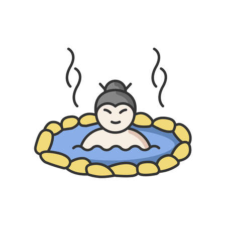 Hot spring RGB color icon. Japanese onsen. Asian spa resort for recreation. Person in warm volcanic pool for resting. Outdoor geothermal resort for relaxation. Isolated vector illustration