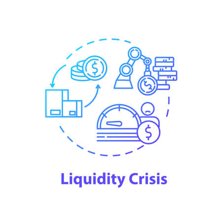 Liquidity crisis concept icon. Stock market crash, unstable assets price and exchange rates idea thin line illustration. Financial emergency. Vector isolated outline RGB color drawing