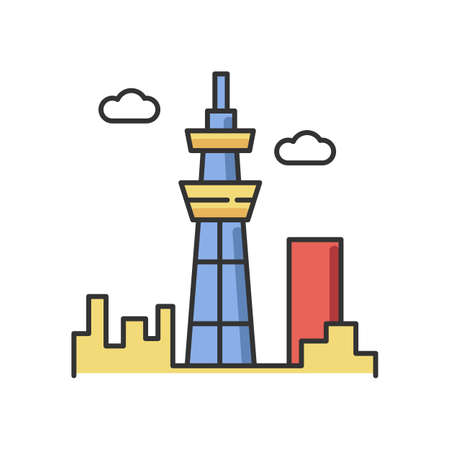 Skyscraper RGB color icon. Urban cityscape. Tokyo observation tower. Business district. Futuristic high building. Airport terminal. Aircraft construction. Isolated vector illustration Stock Illustratie