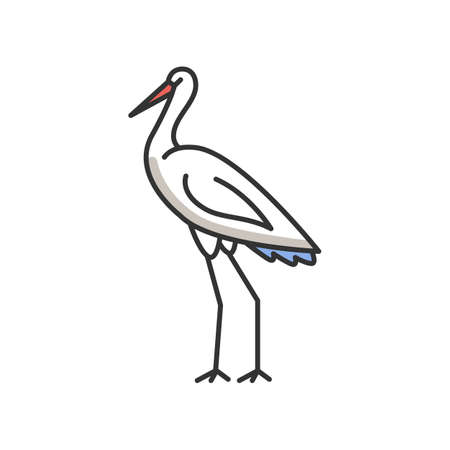 Crane bird RGB color icon. Heron standing in pose. Elegant animal in stance. Japanese bird with long neck. Fauna and wildlife. Zoology and birdwatching. Isolated vector illustration