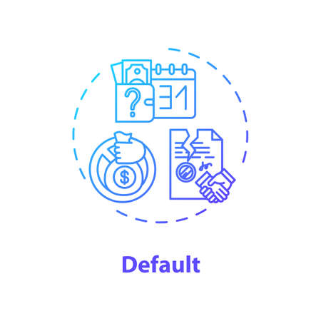 Default concept icon. Economic crisis, financial problem idea thin line illustration. Payment issues, debt repayment inability or refusal. Vector isolated outline RGB color drawing