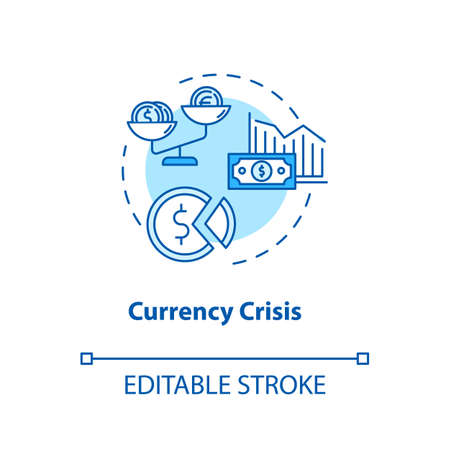 Currency, crisis concept icon. National economic issue, financial emergency idea thin line illustration. Money exchange rate devaluation. Vector isolated outline RGB color drawing. Editable stroke