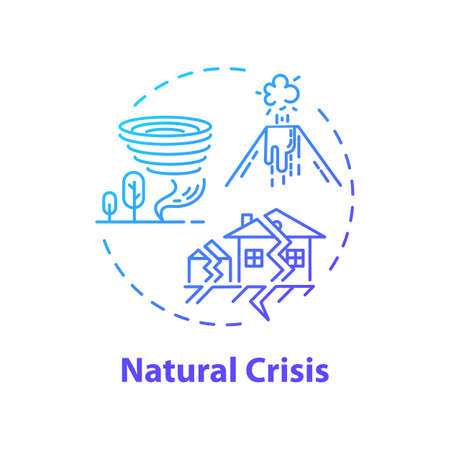 Natural crisis concept icon. Environmental issues, ecological disaster idea thin line illustration. Tornado, earthquake, volcano eruption. Vector isolated outline RGB color drawing Illustration