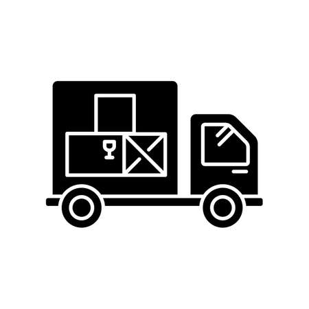 Goods receipt black glyph icon. Logistics, distribution, merchandise delivery service. Cargo transportation, products supply. Silhouette symbol on white space. Vector isolated illustration