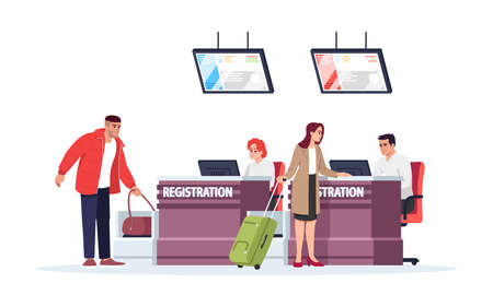 Airport registration desk semi flat RGB color vector illustration. Tourists checkin before flight. Security control for baggage. Travelers isolated cartoon character on white background  イラスト・ベクター素材