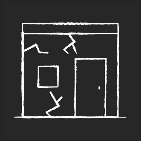 Slums chalk white icon on black background. Cracked urban construction. Poor condition of residential building. Poverty living in runned down hut. Isolated vector chalkboard illustration