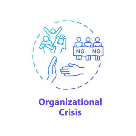 Organizational crisis concept icon. Social protest, civil unrest idea thin line illustration. Political strike, violent public demonstration. Vector isolated outline RGB color drawing