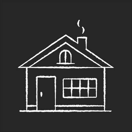House chalk white icon on black background. Residential home exterior. Real estate for renting. Dwelling building in suburban area. Household property. Isolated vector chalkboard illustration