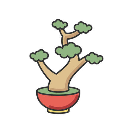 Bonsai RGB color icon. Tiny cultivated potted tree. Decorative gardening. Flowerpot with dwarf plant with foliage on branches. Souvenir form Japan. Asian culture. Isolated vector illustration