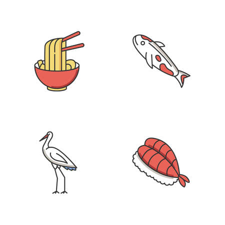Japan RGB color icons set. Ramen in bowl with chopsticks. Koi carp fish. Crane bird. Sushi dish. Asian cuisine. Chinese dish. Traditional japanese attributes. Isolated vector illustrations