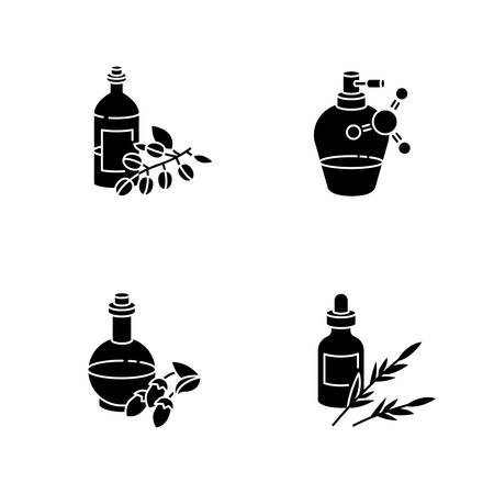 Hair oils black glyph icons set on white space. Antistatic sprayer in bottle. B5 panthenol ointment. B7 biotic cosmetic product. Liquid silicon. Silhouette symbols. Vector isolated illustration