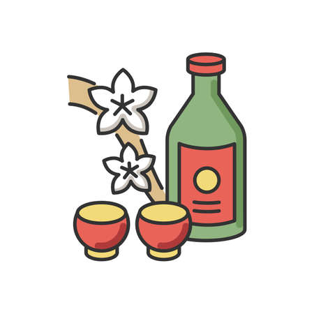 Sake RGB color icon. Japanese rice wine and sakura branch. Korean soju drink with two mugs. Asian liquor in bottle with shot cups. Alcohol beverage in glass. Isolated vector illustration