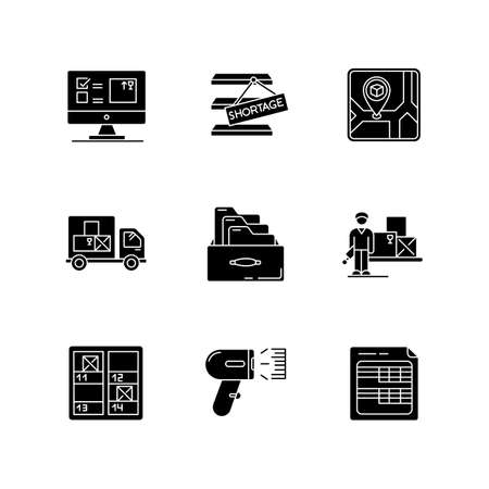 Inventory control and bookkeeping black glyph icons set on white space. Spreadsheets and card system. Storage place, goods shortage and receipt. Silhouette symbols. Vector isolated illustration
