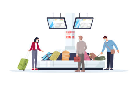 Baggage carousel semi flat RGB color vector illustration. Tourists in medical masks wait for luggage. People get bags in airport terminal. Passengers isolated cartoon character on white background Vettoriali