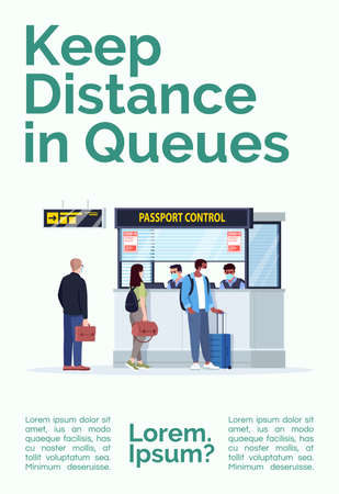 Keep distance in queues poster template. Safe distancing in public place. Commercial flyer design with semi flat illustration. Vector cartoon promo card. Airport terminal advertising invitation Vettoriali
