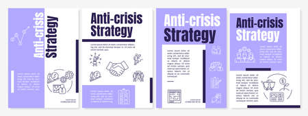 Anti crisis strategy brochure template. Emergency maintenance measures flyer, booklet, leaflet print, cover design with linear icons. Vector layouts for magazines, annual reports, advertising posters Stock Illustratie