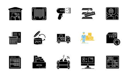 Inventario de seguimiento de iconos de glifos negros en espacios en blanco. Almacenaje, entrada de mercancías y devoluciones de compra. Contabilidad financiera y control de inventarios. Símbolos de silueta. Vector ilustración aislada