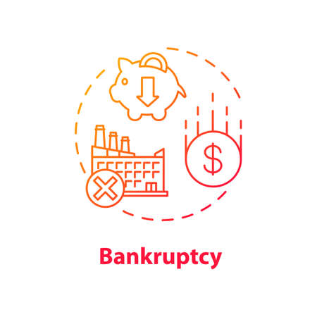 Bankruptcy concept icon. Business collapse, corporate crisis idea thin line illustration. Legal entity, company debt repayment inability. Vector isolated outline RGB color drawing Ilustração