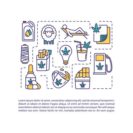Hemp products concept icon with text. Cannabis use for relaxation, food, medicine and biofuel production. PPT page vector template. Brochure, magazine, booklet design element with linear illustrations