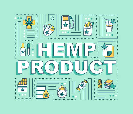 Hemp product word concepts banner. Use of marijuana, medical and recreational cannabis. Infographics with linear icons on green background. Isolated typography. Vector outline RGB color illustration