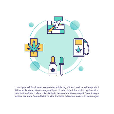 Marijuana products concept icon with text. Medical cannabis, natural construction materials and biofuel. PPT page vector template. Brochure, magazine, booklet design element with linear illustrations Stock Illustratie