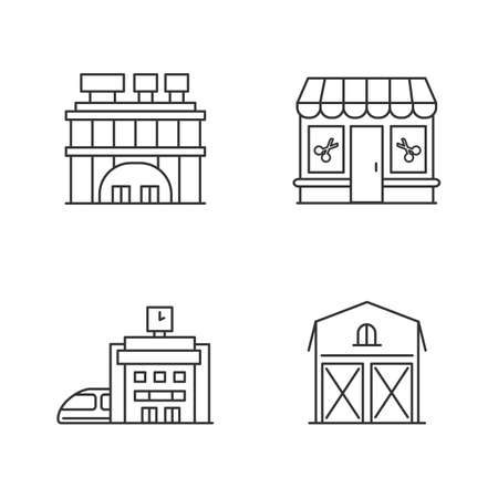 Buildings pixel perfect linear icons set. Shopping center with signboards on roof. Beauty salon. Customizable thin line contour symbols. Isolated vector outline illustrations. Editable stroke
