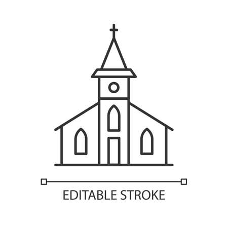 Catholic church pixel perfect linear icon. Religious establishment with cross on roof. Thin line customizable illustration. Contour symbol. Vector isolated outline drawing. Editable stroke Vectores